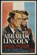 "Abraham Lincoln (United Artists, R-1930s). One Sheet (27"" X 41""). Drama. Starring Walter Huston, Una Merkel, I..."