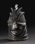 African: , Vai (Sierra Leone/Liberia). Sowei Helmet Mask. Wood, aluminum. Height: 15 inches Width: 9 inches Depth: 10 ¼ inches. ...