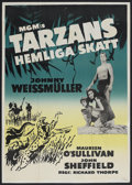 "Movie Posters:Adventure, Tarzan's Secret Treasure (MGM, R-1948). Swedish One Sheet (23.5"" X34""). Adventure. Starring Johnny Weissmuller, Maureen O'S..."