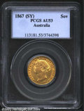 Australia: , Victoria gold sovereign 1867-Sydney, Bust left/Crown over ...