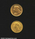 Australia: , A pair of gold sovereigns including: 1861-S, KM-4, F/VF; ...