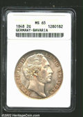 German States:Bavaria, Bavaria 2 gulden 1848, Bust right/Crowned arms with date ...