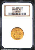 German States:Hamburg, Hamburg gold 20 marks 1876-J, Arms/Eagle with date and ...