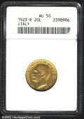 Italy, Kingdom gold 20 lire 1923-R, Head left/Fasces with date ...