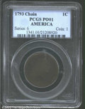 Large Cents: , 1793 Chain 1C AMERICA Poor 1 PCGS. The extensive overall ...