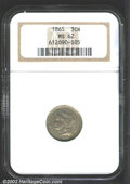 Three Cent Nickels: , 1865 3CN MS62 NGC. Deep, streaky gray-golden toning ...