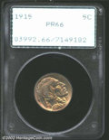 Proof Buffalo Nickels: , 1915 5C PR66 PCGS. Even golden-brown toning covers each ...