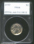 Proof Buffalo Nickels: , 1937 5C PR66 PCGS. Brilliant, deeply mirrored, and very ...