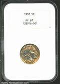 Proof Buffalo Nickels: , 1937 5C PR67 NGC. Gorgeous rainbow colors appear in the ...