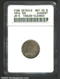 Bust Dimes: , 1814 10C Large Date--Tooled, Cleaned--ANACS. Fine Details, ...
