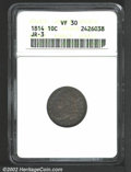 Bust Dimes: , 1814 10C Large Date VF30 ANACS. JR-3, R.2. Dark blue-gray ...