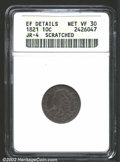 Bust Dimes: , 1821 10C Large Date--Scratched--ANACS. XF Details, Net VF30....