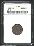 Bust Dimes: , 1827 10C XF40 ANACS. JR-9, R.6. Seldom seen above VF30, ...