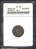 Bust Dimes: , 1828 10C Small Size VF30 ANACS. JR-1, R.2. A pleasing ...