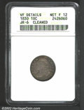 Bust Dimes: , 1830 10C Medium 10C--Cleaned--ANACS. VF Details, Net Fine12....