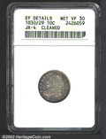Bust Dimes: , 1830/29 10C--Cleaned--ANACS. XF Details, Net VF30. JR-4, ...