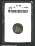 Bust Dimes: , 1832 10C VF30 ANACS. JR-1, R.2. Rich violet-golden ...