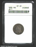 Bust Dimes: , 1833 10C XF45 ANACS. JR-1, R.3. Deep blue toning with ...
