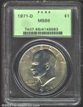 Eisenhower Dollars: , 1971-D $1 MS66 PCGS. The otherwise apricot-gray toning ...