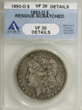 Morgan Dollars, 1893-O $1 --Residue Scratched--ANACS .VF30 Details. NGC Census: (36/1397). PCGS Population (63/1869). Mintage: 300,000. Numi...