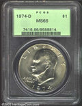 Eisenhower Dollars: , 1974-D $1 MS66 PCGS. Minimally patinated with full, ...