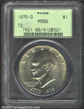Eisenhower Dollars: , 1976-D $1 Type Two MS66 PCGS. This frosty finished Gem is ...