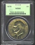 Eisenhower Dollars: , 1978 $1 MS66 PCGS. Warmly patinated in golden-orange ...