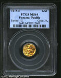 Commemorative Gold: , 1915-S $1 Panama-Pacific Gold Dollar MS64 PCGS. An ...