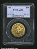 Liberty Eagles: , 1856-O $10 AU53 PCGS. The borders glimmer with mint ...