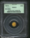 California Fractional Gold: , 1871 25C Liberty Round 25 Cents, BG-839, R.4, MS63 PCGS. ...