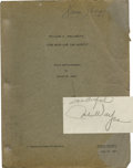 Movie/TV Memorabilia:Autographs and Signed Items, John Wayne Autographed The High and the Mighty Screenplay. The granddaddy of such all-star disaster movies as th... (Total: 1 Item)