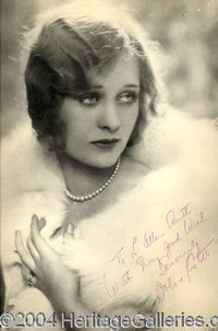 """Dolores Costello - Fabulous 11 x 14 vintage matte-finish photograph, nicely inscribed, """"To L. Allan Smith, With Eve..."""
