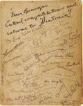 """Movie/TV Memorabilia:Autographs and Signed Items, Card Signed by Hollywood Greats Including Jean Harlow, Clara Bow,Others. A 10.5"""" x 13.5"""" card signed by a host of early sta...(Total: 1 Item)"""