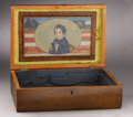 Political:3D & Other Display (pre-1896), William Henry Harrison: Elegant Wood Chest with Colorful Reverse-onGlass Portrait on Inside of Lid. ...