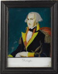 Political:3D & Other Display (pre-1896), George Washington: Colorful Reverse-on-Glass Portrait, Circa 1830s,in Original Frame....