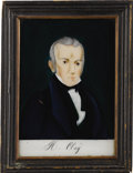 Political:3D & Other Display (pre-1896), Henry Clay: Delightful Reverse-on-Glass Painted Portrait in the Original Frame....
