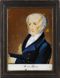 Political:3D & Other Display (pre-1896), Martin Van Buren: Reverse-on-Glass Painted Portrait in Original Frame....
