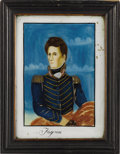 Political:3D & Other Display (pre-1896), Andrew Jackson: Superb Larger-Size Reverse-on-Glass Painted Portrait in Original Frame. ...