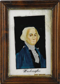 Political:3D & Other Display (pre-1896), George Washington: Circa 1820s Reverse-on-Glass Painted Portrait in the Original Frame....