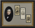 Political:Ribbons & Badges, William Henry Harrison: Beautiful Display Frame Featuring Three Silk Ribbons....