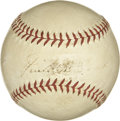 Autographs:Baseballs, Jimmie Foxx Single Signed Baseball. The evenly toned OAL (Harridge) baseball holds the single signature of one of the great...