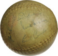 Autographs:Baseballs, 1930's Hall of Famers Multi-Signed Softball with Gehrig, Foxx.Astounding compilation of legends found upon this unassuming...