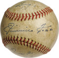 Autographs:Baseballs, 1942 Jimmie Foxx Single Signed Baseball. Unique solo sphere wasautographed the day after the Hall of Fame slugger was sele...