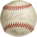 Autographs:Baseballs, Early 1940's Babe Ruth, Ty Cobb & Tris Speaker Signed Baseball. The original owner's notarized letter of provenance is so m...