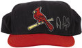 Baseball Collectibles:Uniforms, Circa 2001 Albert Pujols Game Worn Cap. St. Louis Cardinals alternate style cap shows terrific wear from the Dominican slug...