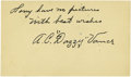 Autographs:Post Cards, 1949 Dazzy Vance Twice Signed Government Postcard. The 1924National League recipient of the elusive pitching Triple Crown ...