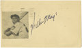 Autographs:Post Cards, 1951 Willie Mays Signed Government Postcard. One smart fan could see that this speedy rookie had a real future ahead of him...