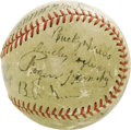 Autographs:Baseballs, 1930's Team Owners, Managers, Superstars Signed Baseball. What anoutrageous assortment of Cooperstown talent here! Ninete...
