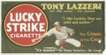 "Baseball Collectibles:Others, 1928 Tony Lazzeri ""Lucky Strike"" Trolley Sign. Highly collectible advertising sign pictures the great New York Yankees Hall..."