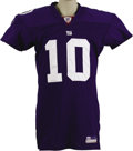 Football Collectibles:Uniforms, 2005 Eli Manning Game Worn Jersey. While his brother Peyton is currently the bigger star of the sibling quarterbacks, there...